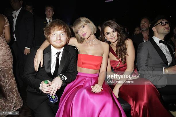 Ed Sheeran Taylor Swift and Selena Gomez in the audience at The 58TH ANNUAL GRAMMY AWARDS on Monday Feb 15 2016 at STAPLES Center in Los Angeles and...