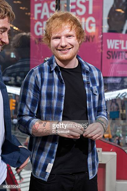 Ed Sheeran visits 'Extra' at their New York studios at HM in Times Square on September 29 2015 in New York City