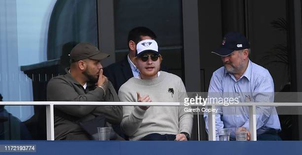 Ed Sheeran watches play during day one of the 4th Specsavers Ashes Test between England and Australia at Old Trafford on September 04 2019 in...