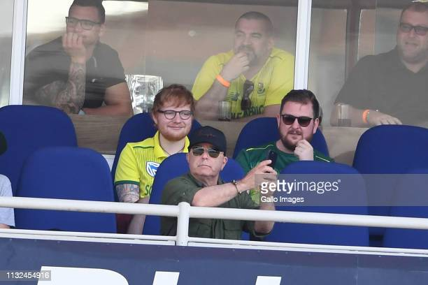 Ed Sheeran watches the action during the 3rd KFC T20 International match between South Africa and Sri Lanka at Bidvest Wanderers Stadium on March 24...
