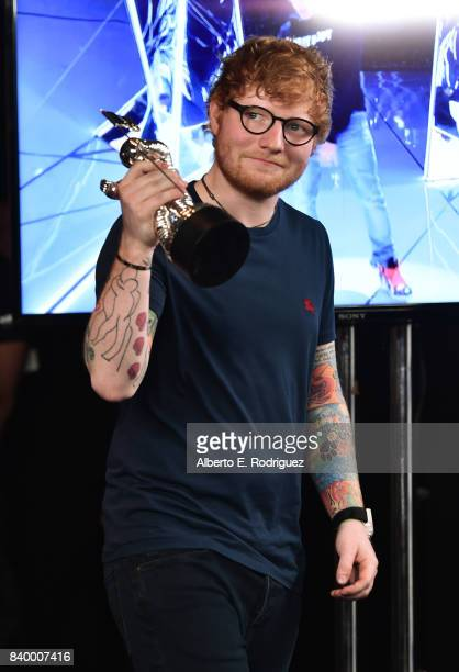 Ed Sheeran winner of Artist of the Year poses in the press room during the 2017 MTV Video Music Awards at The Forum on August 27 2017 in Inglewood...