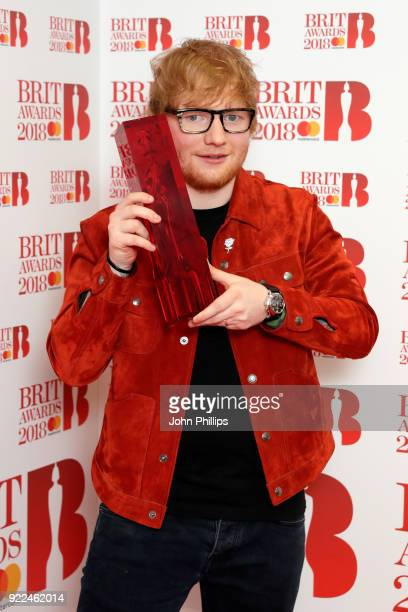 AWARDS 2018*** Ed Sheeran winner of the Global Success 2018 award poses in the winners room during The BRIT Awards 2018 held at The O2 Arena on...