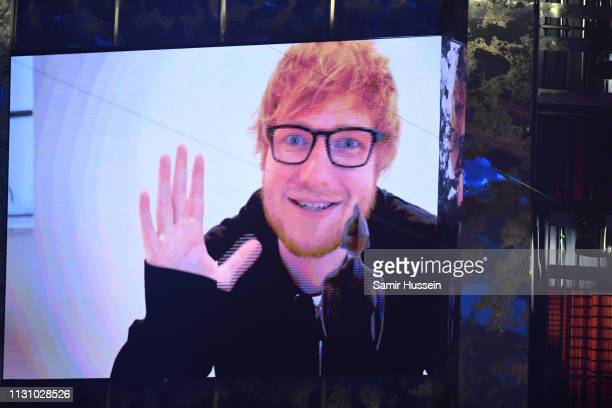 Ed Sheeran wins the Global Success Award during The BRIT Awards 2019 held at The O2 Arena on February 20 2019 in London England