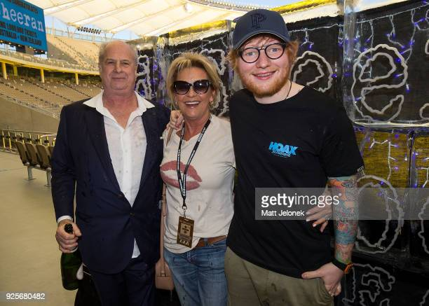 Ed Sheeran with Promoter Michael Gudinski and wife at Optus Stadium during a media call for the launch of a recordbreaking Australian and New Zealand...