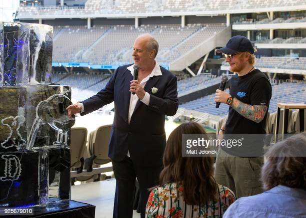 Ed Sheeran with Promoter Michael Gudinski at Optus Stadium during a media call for the launch of a recordbreaking Australian and New Zealand Tour on...