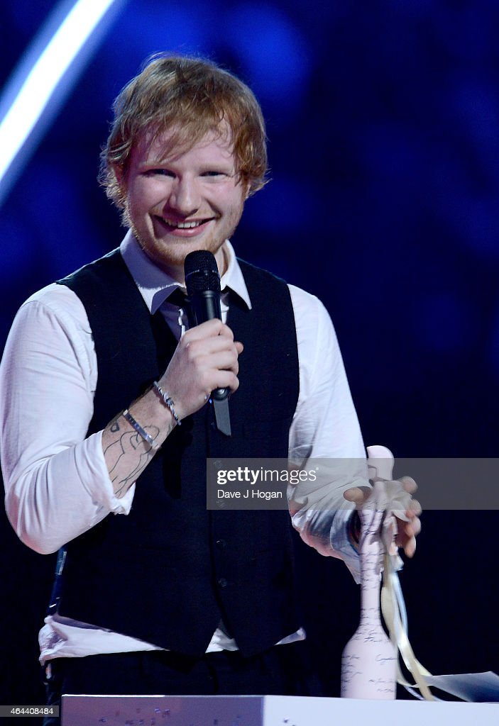 Ed Sheeran with the award for Best British Solo Male at the BRIT Awards 2015 at The O2 Arena on February 25, 2015 in London, England.