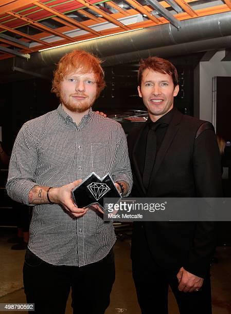Ed Sheerhan and James Blunt pose for a portrait backstage during the 29th Annual ARIA Awards 2015 at The Star on November 26, 2015 in Sydney,...