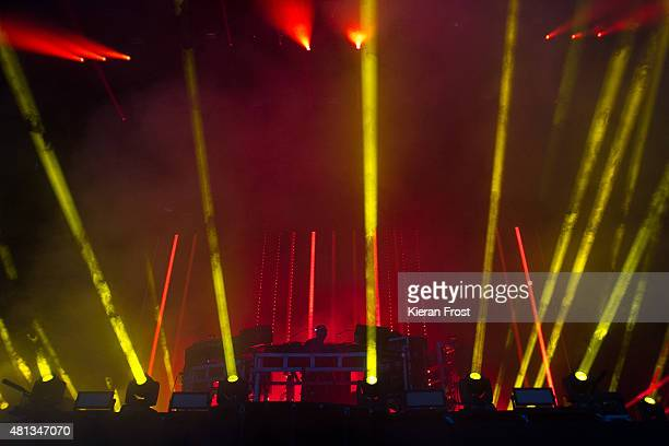 Ed Simons and Tom Rowlands of Chemical Brothers performs at Longitude Festival on July 19 2015 in Dublin Ireland