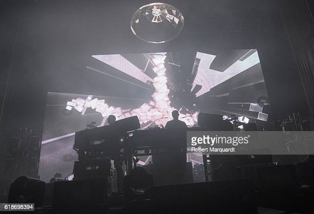 Ed Simons and Tom Rowlands of the Chemical Brothers peform on stage at Poble Espanyol on October 27 2016 in Barcelona Spain