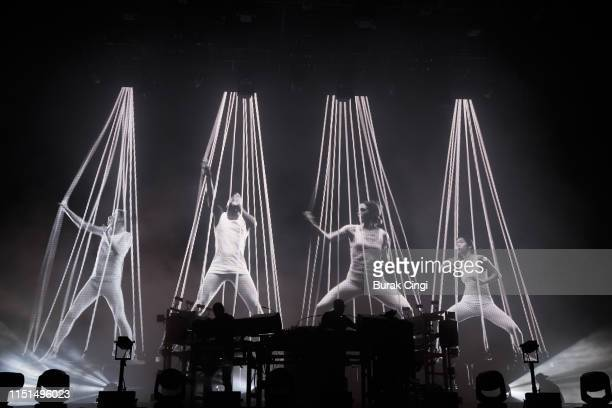 Ed Simons and Tom Rowlands of The Chemical Brothers perform during the All Points East Festival at Victoria Park on May 24 2019 in London England