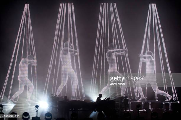 Ed Simons and Tom Rowlands of The Chemical Brothers perform on stage during BBK Live Festival al Kobetamendi on July 13 2018 in Bilbao Spain