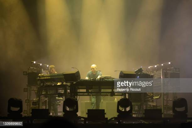 Ed Simons and Tom Rowlands of The Chemical Brothers perform on the Main Stage on the third day of TRNSMT Festival 2021 on September 12, 2021 in...