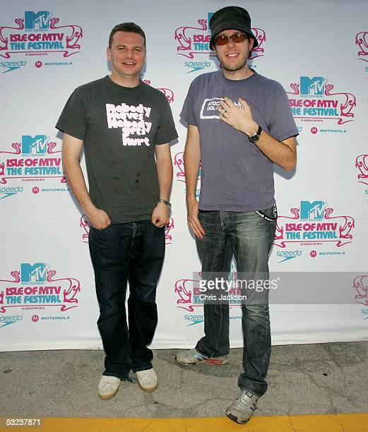 Ed Simons and Tom Rowlands of The Chemical Brothers pose backstage at the Isle Of MTV Club Tour 2005 at Piazza dell'Unita d'Italia on July 14 2005 in...