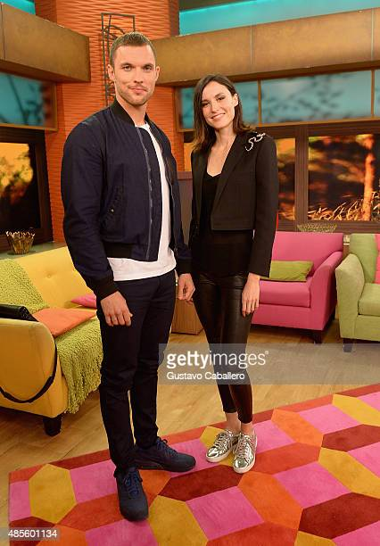 Ed Skrein and Loan Chabanol is on The Set Of Univisions 'Despierta America' to promote the film 'The Transporters' at Univision Studios on August 28...