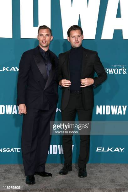Ed Skrein and Luke Kleintank attend the Premiere Of Lionsgate's Midway at Regency Village Theatre on November 05 2019 in Westwood California