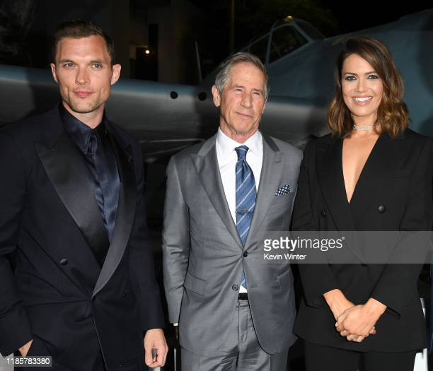 """Ed Skrein, Jon Feltheimer, and Mandy Moore attend the premiere of Lionsgate's """"Midway"""" at Regency Village Theatre on November 05, 2019 in Westwood,..."""