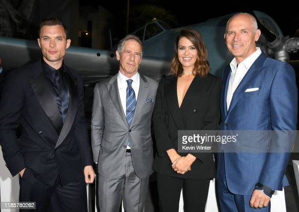"""Ed Skrein, Jon Feltheimer, Mandy Moore, and guest attend the premiere of Lionsgate's """"Midway"""" at Regency Village Theatre on November 05, 2019 in..."""