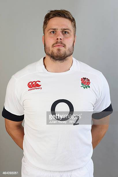 Ed Slater of England poses for a portrait during the England Six Nations Squad Photo Call at the Penny Hill Hotel on January 20 2014 in Bagshot...