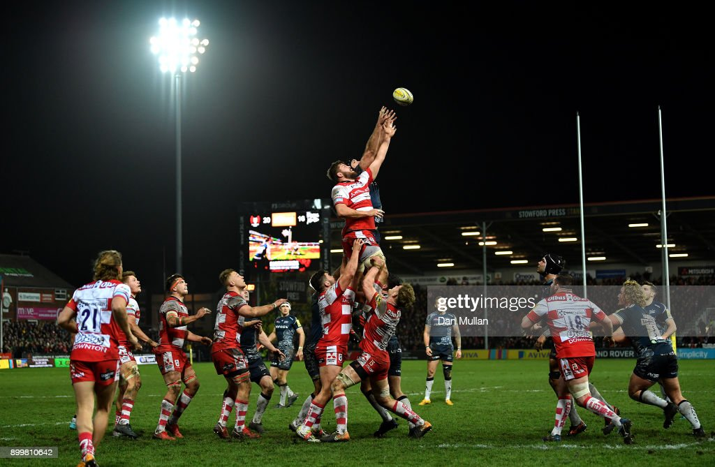 Ed Slater of Gloucester and Andrei Ostrikov of Sale Sharks compete at the lineout during the Aviva Premiership match between Gloucester Rugby and Sale Sharks Sharks at Kingsholm Stadium on December 30, 2017 in Gloucester, England.