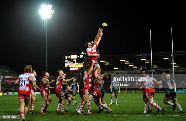 Ed Slater of Gloucester and Andrei Ostrikov of Sale Sharks compete at the lineout during the Aviva Premiership match between Gloucester Rugby and...