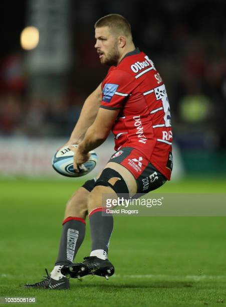 Ed Slater of Gloucester passes the ball during the Gallagher Premiership Rugby match between Gloucester Rugby and Bristol Bears at Kingsholm Stadium...