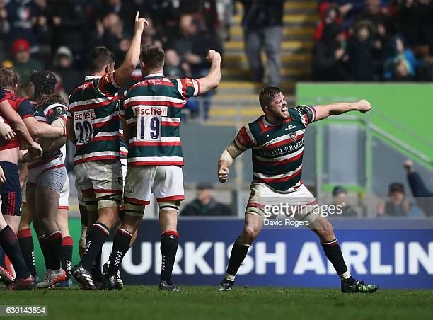 Ed Slater of Leicester celebrates their victory during the European Rugby Champions Cup match between Leicester Tigers and Munster at Welford Road on...