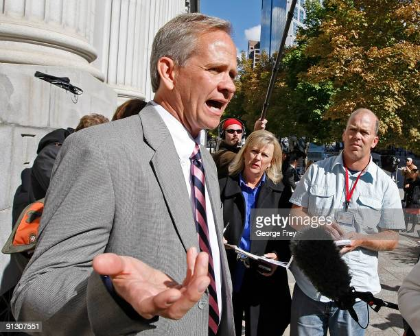 Ed Smart , father of Elizabeth Smart, speaks to the media outside of the Federal Court House after his daughter testified, for the first time, in a...