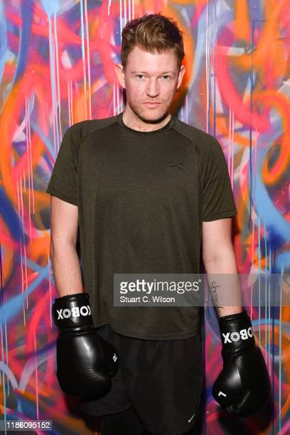 Ed Smith takes part in a charity KOBOX class at KOBOX Marylebone raising funds for Rainbow Railroad a charity which helps members of the LGBTQ...