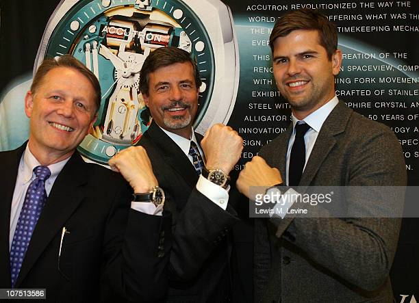 Ed Smith VP of Operations for Reeds Jewelers Ron Barnes store manager of Reeds jewelers and Brett Fahlgren show off their Bulova watches at the...