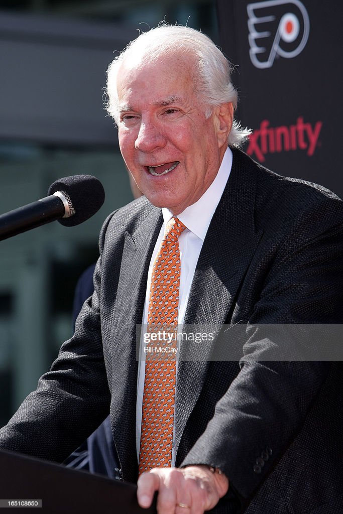 Ed Snider attends the Comcast-Spectacor unveiling of a new seven-foot tall bronze statue of then team captain Bob Clarke and goaltender Bernie Parent hoisting the Stanley Cup commemorating one of the most iconic moments in Philadelphia Flyers history at Xfinity Live March 30, 2013 in Philadelphia, Pennsylvania.
