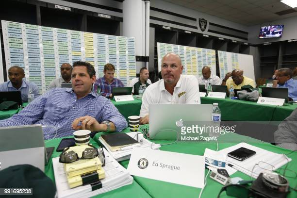 Ed Sprague of the Oakland Athletics sits in the Athletics Draft Room on the opening day of the 2018 MLB Draft at the Oakland Alameda Coliseum on June...
