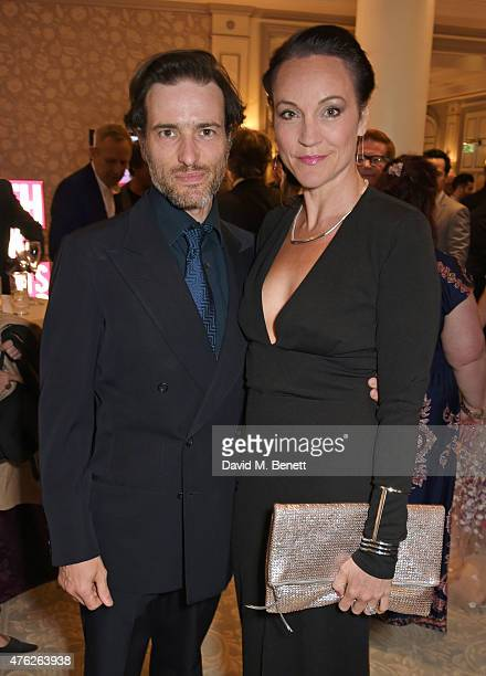 Ed Stoppard and wife Amie Stoppard attend the South Bank Sky Arts awards at The Savoy Hotel on June 7 2015 in London England