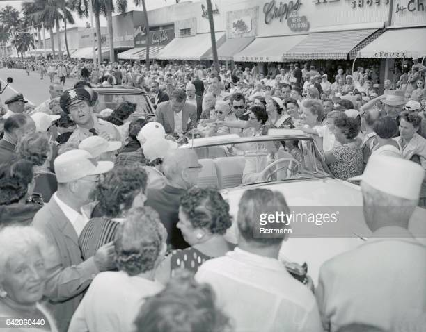 Ed Sullivan, TV star and columnist is mobbed by autograph Hunters when he was down here to commentate a fashion show in connection with the 35th...