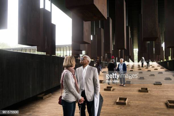 Ed Sykes visits the National Memorial For Peace And Justice on April 26, 2018 in Montgomery, Alabama. Sykes, who has family in Mississippi, was...