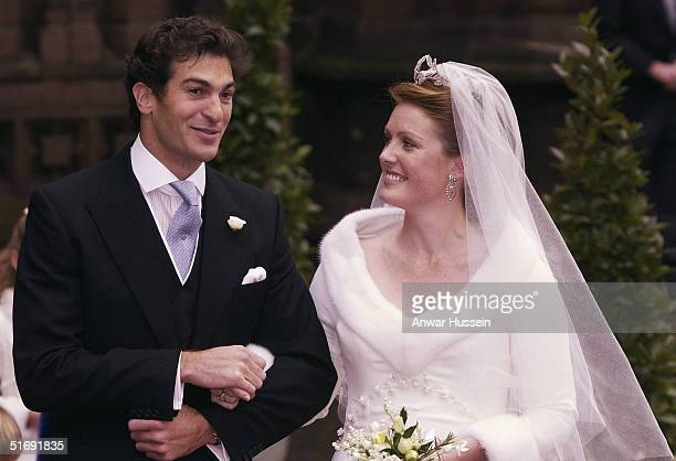 Ed Van Cutsem and Lady Tamara Grosvenor leave their wedding at Chester Cathedral on November 6 2004 in Chester England Lady Tamara is the eldest...
