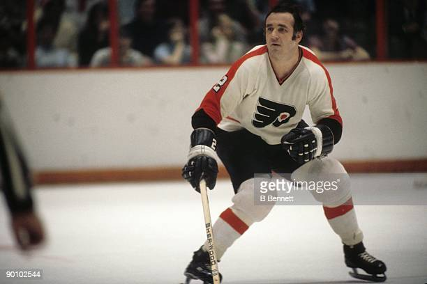 Ed Van Impe of the Philadelphia Flyers skates during a circa 1970's game at the Spectrum in Philadelphia Pennsylvania