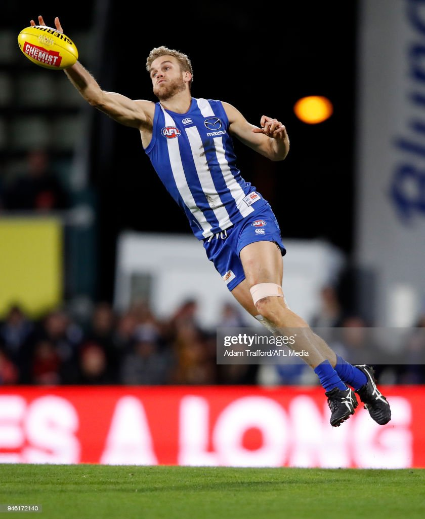 Ed Vickers-Willis of the Kangaroos reaches for the ball during the 2018 AFL Round 04 match between the North Melbourne Kangaroos and the Carlton Blues at Blundstone Arena on April 14, 2018 in Hobart, Australia.