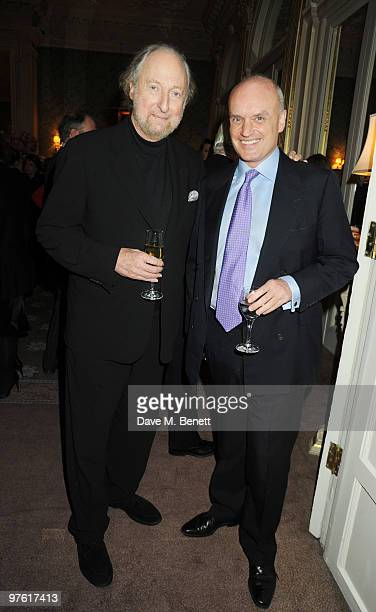 Ed Victor and Nicholas Coleridge attend the Nancy Mitford 'Wigs on the Green' reissue party held by Catherine Ostler and the Dowager Duchess of...