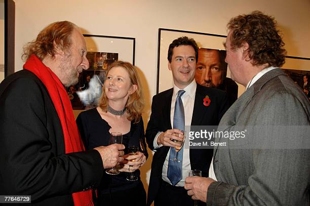 Ed Victor George Osborne with wife and Christopher Simon Sykes attend a private view of photographs dedicated to Sir Eric Clapton to celebrate his...