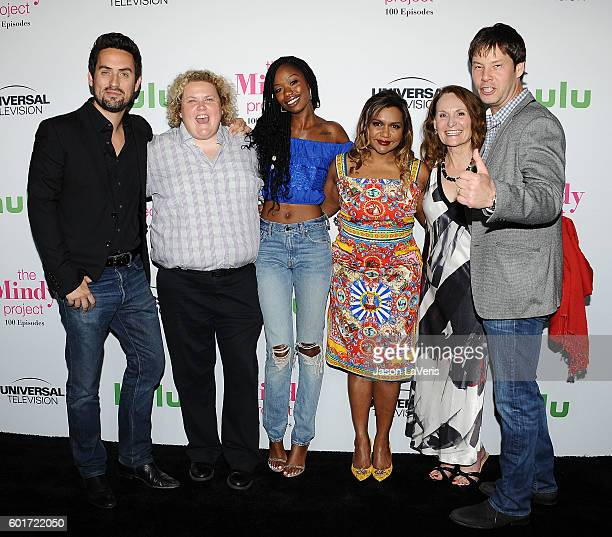 Ed Weeks Fortune Feimster Xosha Roquemore Mindy Kaling Beth Grant and Ike Barinholtz attend the 100th episode celebration of 'The Mindy Project' at...