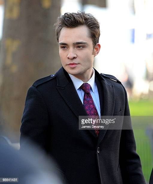 Ed Westsick films on location for 'Gossip Girl' on the streets of Manhattan on December 1 2009 in New York City