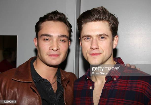 Ed Westwick and Aaron Tveit pose backstage at Catch Me If You Can on Broadway at The Neil Simon Theatre on April 22 2011 in New York New York