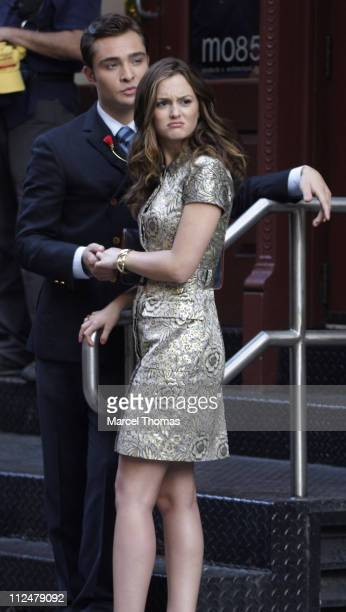 Ed Westwick and Leighton Meester are seen on location for the show 'Gossip Girls' on the streets of Manhattan on July 9 2009 in New York City