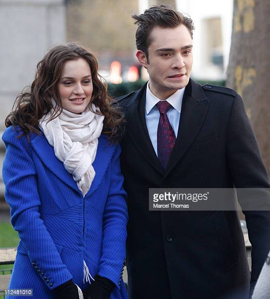 Ed Westwick and Leighton Meester are seen working on the set of the TV show Gossip Girls on location on the streets of Manhattan on December 1 2009...