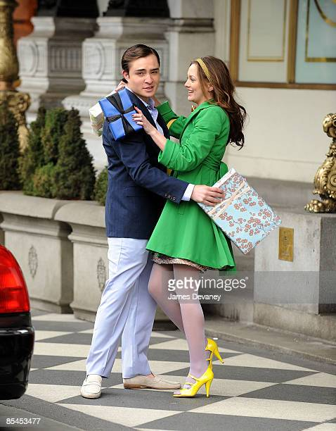 Ed Westwick and Leighton Meester films on location for 'Gossip Girl' on the streets of Manhattan on March 16 2009 in New York City