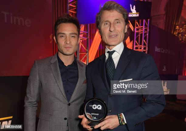 Ed Westwick and Stephan Winkelmann President of Bugatti Automobiles accepting the Best Hypercar award on behalf of the Bugatti Centodieci attend the...