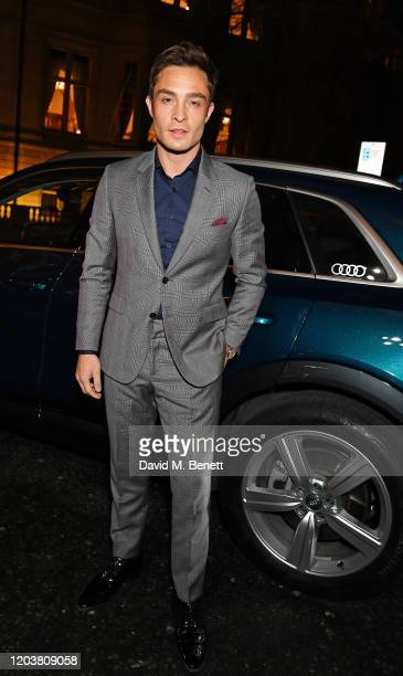 Ed Westwick arrives in an Audi at the GQ Car Awards at Corinthia London on February 03 2020 in London England