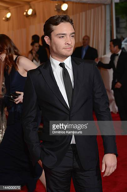 Ed Westwick attends the Schiaparelli And Prada Impossible Conversations Costume Institute Gala at the Metropolitan Museum of Art on May 7 2012 in New...