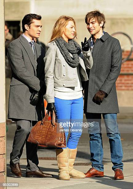Ed Westwick Blake Lively and Chace Crawford is seen filming on location for 'Gossip Girl' in Manhattan on November 18 2009 in New York City