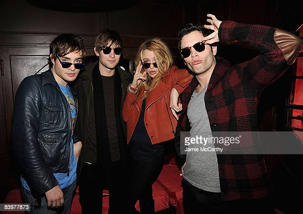 Ed Westwick Chace Crawford Blake Lively and Penn Badgley wearing RayBan sunglasses attend RayBan Remasters at Bowery Ballroom on December 9 2008 in...